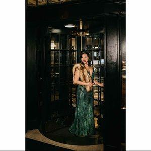 Jovani Dresses - Jovani Green Beaded Plunging Neckline Prom Dress